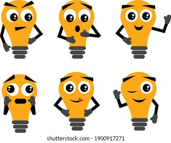 Light Bulb Characters with Different Expressions