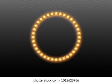 Light bulb circle. Round lights frame on transparent background. Illuminated round realistic casino banner with lamps isolated. Vector shiny translucent glowing boarder for advertising design