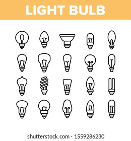 Light Bulb Collection Elements Icons Set Vector Thin Line. Electricity Energy Saving And Incandescent Light Bulb, Led And Fluorescent Lamp Concept Linear Pictograms. Monochrome Contour Illustrations