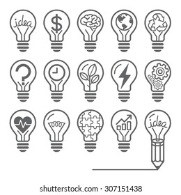 Light bulb concept line icons style. Vector illustration.