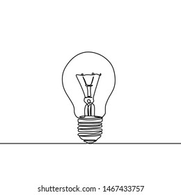 light bulb continuous one line drawing minimalist design of smart idea theme