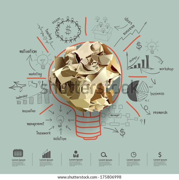 Light bulb crumpled paper with creative drawing business success strategy plan idea, Inspiration concept modern design template workflow layout, diagram, step up options, Vector illustration