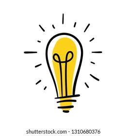 Light bulb doodle, hand drawn idea concept icon