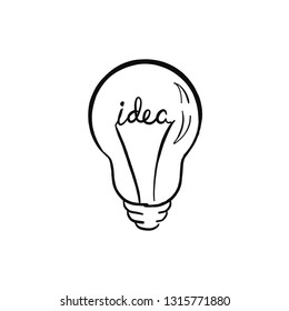 Light bulb doodle icon for logo, poster, banner, printing, For designing opinion leader, idea generating, inspiration,  energy, business and leadership. Isolated on white background. Shining light