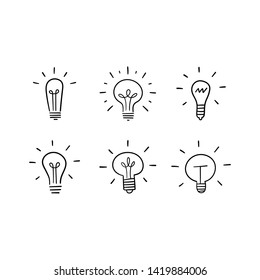 Light bulb doodles set. Hand drawn idea icons. Creativity and innovation concept.