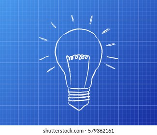 Light bulb drawing on blueprint background