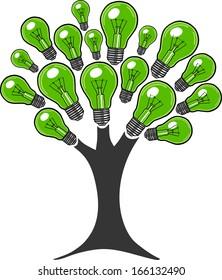 Light bulb ecology tree. Tree made of light bulbs. Ecology bulbs.