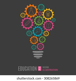 Light bulb education concept infographic template on black background. Vector