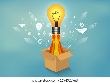 light bulb ejected from box brown isolated from blue background. startup business success concept. think outside the box. creative idea. leadership. vector illustration