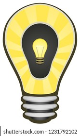 Light bulb electric double inner surreal cartoon, vector, vertical, over white, isolated