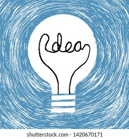 A light bulb with filament spelling out the word Idea. Vector illustration.