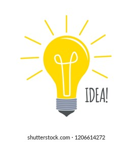 Light Bulb flat icon vector, isolated on white background. Idea sign, solution, thinking concept. Lighting Electric lamp. Electricity, shine. Trendy Flat style for graphic design, Web site, UI. EPS10