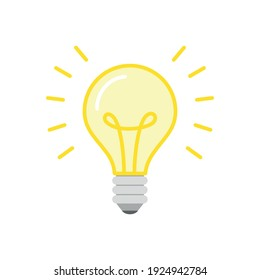 Light Bulb. Flat illustration of a glowing light bulb. Icon isolated on a white background. Vector 10 EPS.