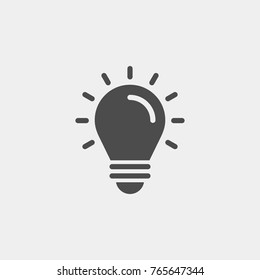 Light bulb flat vector icon
