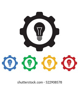 LIGHT BULB GEAR icon. Business icons set of colors