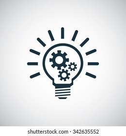 light bulb gear icon, on white background