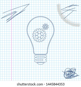 Light bulb and gear inside line sketch icon isolated on white background. Innovation concept. Vector Illustration