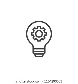 Light bulb and gear outline icon. linear style sign for mobile concept and web design. Working Process simple line vector icon. Symbol, logo illustration. Pixel perfect vector graphics