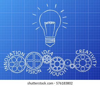 Light bulb and gear wheels with innovative words drawing on blueprint background