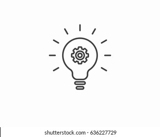 Light bulb with gears black silhouette icon. Bulb, icon, light, lightbulb, cog, invention, background, black, concept, creative, design