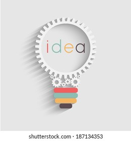 light bulb with gears and cogs working together, idea concept