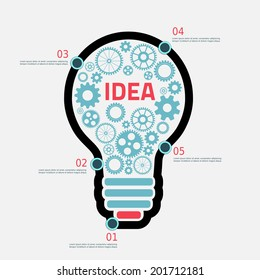 light Bulb with gears and cogs working together, concept infographic background