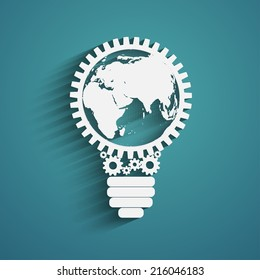 light bulb with gears and cogs working together, idea concept, global connection concept