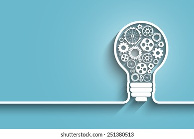 light bulb with gears and cogs working together. Eps10 vector abstract background for your design