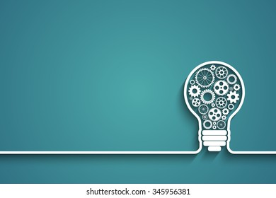 light bulb with gears and cogs working together. Eps10 vector background for your design