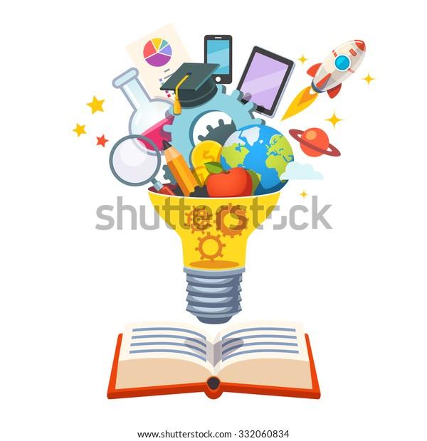 Лампочка с шестернями внутри плавающей над большой книгой, лопнущей новыми идеями. Концепция образования. Векторная иллюстрация плоского стиля, изолированная на белом фоне.