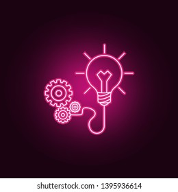 light bulb and gears neon icon. Elements of Idea set. Simple icon for websites, web design, mobile app, info graphics