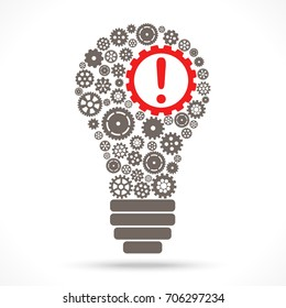 light bulb with gray gear wheels and red exclamation mark symbolizing idea and development