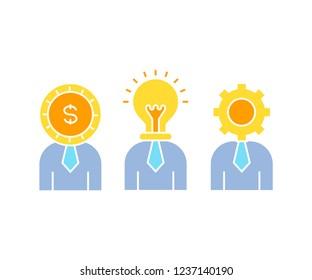 light bulb head man, gear head man, and money head man for business concept icons