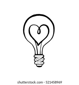 Light bulb with a heart. Black and white hand drawn vector illustration.
