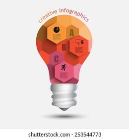 light bulb hexagons data creative idea infographics