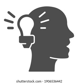 Light bulb and human head solid icon, online education concept, Idea lightbulb symbol on white background, Person head thinking new idea icon in glyph style for mobile. Vector graphics.