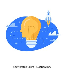 Light bulb with human side view and launching rocket. Flat design vector illustration concept for creativity, imagination, innovation, discovery, power of mind isolated on white