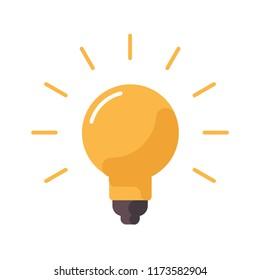 Light bulb icon, brilliant solution symbol, lamp idea