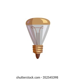light bulb icon, cartoon flat style vector illustration on isolated white background