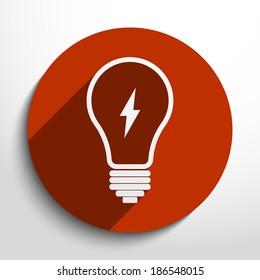 Light bulb icon in circle, flat design