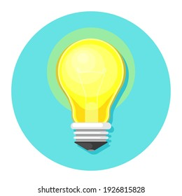 Light bulb icon in flat style. Lightbulb  illustration on white isolated background. Lamp idea business concept.