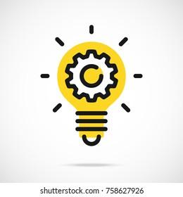 Light bulb icon and gear. Lightbulb and cogwheel inside. Logo concept. Modern flat line vector icon