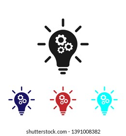 Light Bulb Icon with Gear sign