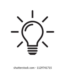 Light bulb icon, idea sign, black isolated on white background, vector illustration.