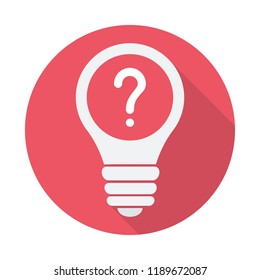 Light Bulb icon, Idea, solution, thinking icon with question mark. Light Bulb icon and help, how to, info, query symbol. Vector