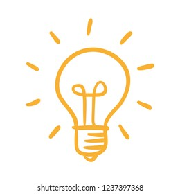 Light bulb icon, idea symbol, sketch vector illustration. Hand drawn doodle sign.