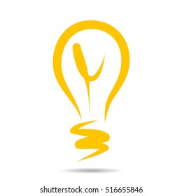 Light bulb icon, idea symbol sketch in vector. Hand-drawn doodle sign. EPS