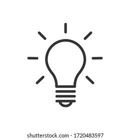 Light bulb icon. Ideas, solution, electricity symbol. Vector Illustration.