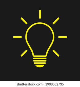 Light bulb icon. Incandescent lamp symbol. Idea and innovation sign. Creative energy or inspiration logo. Lightbulb silhouette. Vector illustration image.