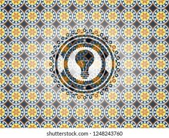 light bulb icon inside arabesque style emblem. arabic decoration.